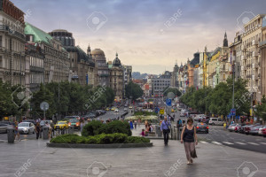 PRAGUE, CZECH REPUBLIC - JUNE 11, 2014: Summer evening at Wenceslas Square, one of the main city squares, viewed from southeast end, New Town of Prague, Czech Republic